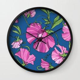 Fairytale Floral Pattern in Lipstick Pink & Cerulean Blue Wall Clock