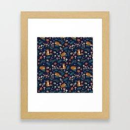 Fox and Hedgehog in Toadstool Woods In Blue Framed Art Print