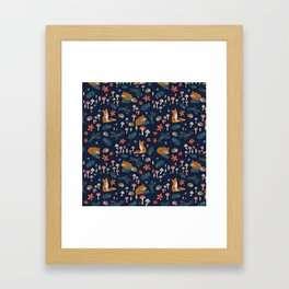 Fox and Hedgehog in Toadstool Woods In Blue Framed Art Print