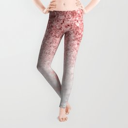 Rose-gold faux glitter and marble ombre Leggings