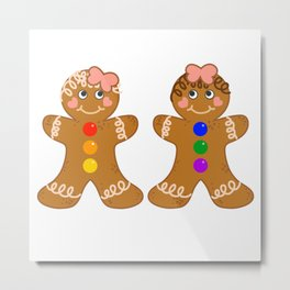 Gingerbread Couple 2 Girl Girl Metal Print