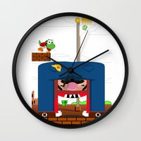 mario Wall Clocks featuring Mario by Ryan Miller