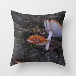 forest mushrooms in sweden Throw Pillow