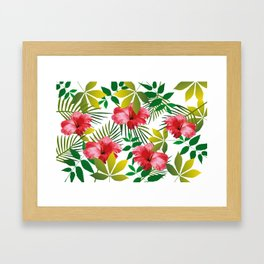 Hibiscus Flower and Leaf Framed Art Print