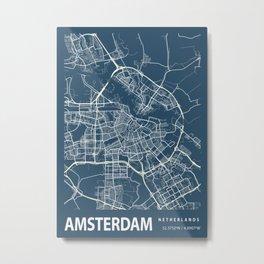 Amsterdam Blueprint Street Map, Amsterdam Colour Map Prints Metal Print