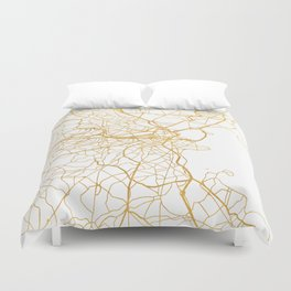 BOSTON MASSACHUSETTS CITY STREET MAP ART Duvet Cover