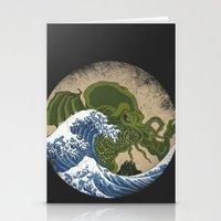 hokusai Stationery Cards featuring Hokusai Cthulhu by Marco Mottura - Mdk7