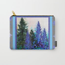 GREY WINTER SNOWFLAKE  CRYSTALS FOREST ART Carry-All Pouch
