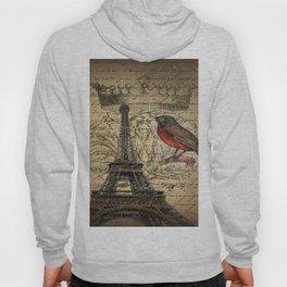 I love Paris Shabby chic Robin French Scripts Jubilee Crown Vintage Paris Eiffel Tower Hoody