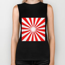 Red And White Bright Ray Background Biker Tank