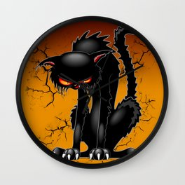 Black Cat Evil Angry Funny Character Wall Clock
