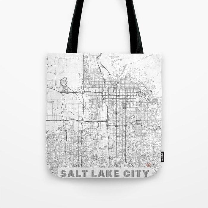 Salt Lake City Map Line Tote Bag