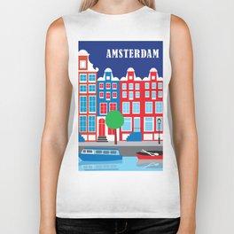 Amsterdam, Netherlands - Skyline Illustration by Loose Petals Biker Tank