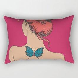 Girl with a Butterfly Tattoo Rectangular Pillow