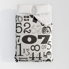 The Numbers in Black and White Comforters