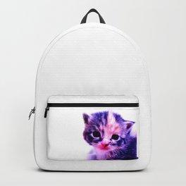 Blue Pink Cute Little Cat Backpack