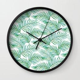 Palm Leaves_Bg White Wall Clock