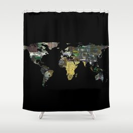 World Map Silhouette - A Busy World Painting Shower Curtain
