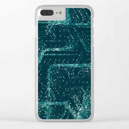 Teal and Triangles Clear iPhone Case