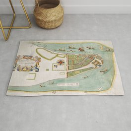 Historical Map of New York City (1664) Rug
