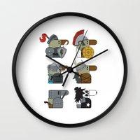 heavy metal Wall Clocks featuring Heavy Metal by nobleplatypus