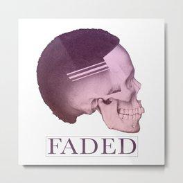 Barber Shop Faded Skull Graphics Design   Haircut Skin Fade Metal Print