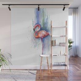 Pink Flamingo Watercolor Tropical Animals Birds Wall Mural