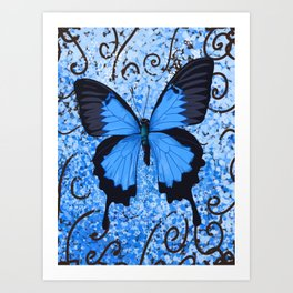 Blue butterfly free to flying Art Print