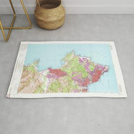 Monterey, CA from 1947 Vintage Map - High Quality Rug