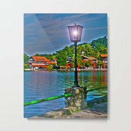 Lantern at the Lake Schliersee Metal Print