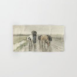 A Herdess with Cows on a Country Road in the Rain Hand & Bath Towel