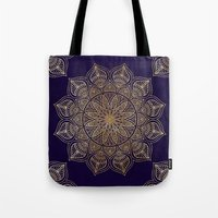 islam Tote Bags featuring Gold Mandala by Mantra Mandala