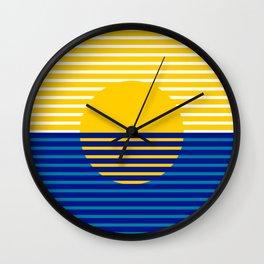 Yellow Split Sun Wall Clock