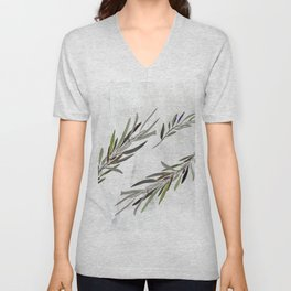 Eucalyptus Leaves White Unisex V-Neck