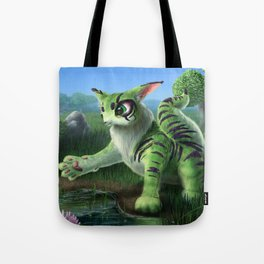 Fluffy Green Cat-Like Creature Tote Bag