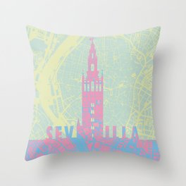 Giralda Sevilla cityscape Throw Pillow