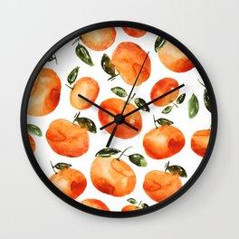 Watercolor tangerines Wall Clock