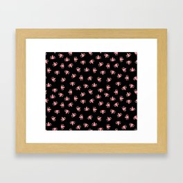 Crazy Happy Uterus in Black, Small Framed Art Print