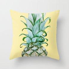 Yellow Pineapple , Tropical Fruit , Hawaiian Throw Pillow