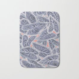 Tropical Caladium Leaves Pattern - Purple Gray Coral Bath Mat