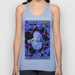 BLUE MORNING GLORIES & WHITE IRIS  SPRING  GARDEN ART Unisex Tank Top