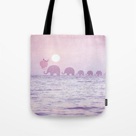 Elephants - a dream walk Tote Bag