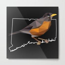Connecticut – American Robin (Black) Metal Print