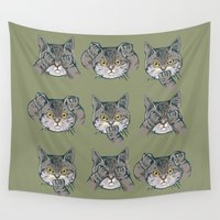 evil Wall Tapestries featuring No Evil Cat by Huebucket