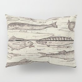 father's day fisherman gifts whitewashed wood lakehouse freshwater fish Pillow Sham