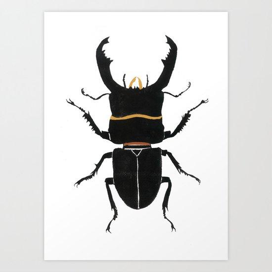 Noir Beetle Dark Watercolor  Art Print