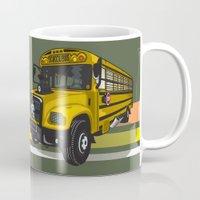 school Mugs featuring School bus by mangulica