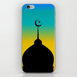 Mosque dome and minaret silhouette with moon during sunset - eid gifts iPhone Skin