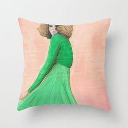 Olivia Twirling Original Acrylic Painting Throw Pillow