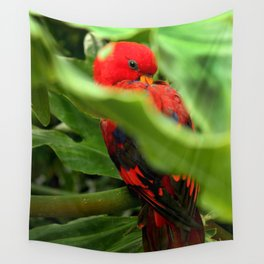 Red Lory Wall Tapestry